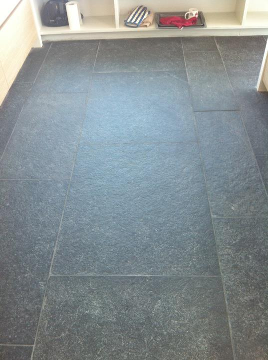 Flagstone Floor Before Cleaning and Sealing